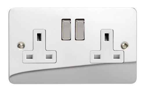 Varilight XFC5DW Ultraflat Polished Chrome 2 Gang Double 13A Switched Plug Socket